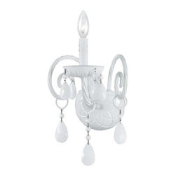 Crystorama Lighting Group - Crystorama Lighting Group 1071 Envogue 1 Light Candle Style Wall Sconce with Han - Crystorama 1071 Single Light Wall Sconce from the Envogue CollectionTraditional crystal chandeliers are classic, timeless, and elegant. Crystorama's opulent ALL WHITE glass arm chandeliers are nothing short of spectacular. With the Envogue Collection, Crystorama turns a classic traditional style into a fashion forward design.
