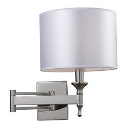 Elk Lighting - Elk Lighting Pembroke Transitional Swing Arm Wall Lamp X-1/06101 - A light silver drum shade adds a modern accent to a traditional style polished nickel base in this simply elegant transitional swing arm wall lamp. The unique concave arm design sets this lamp apart from the rest and one that will make a stunning addition to any home or office. Perfect for reading rooms and hallways.