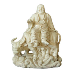 "Golden Lotus - Off White Porcelain Happy Buddha Riding Buffalo Figure - Dimensions:   w12"" x d8"" x h14.5"""