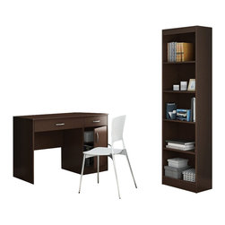 South Shore - South Shore Axess 2 Piece Office Set with Narrow Bookcase in Chocolate - South Shore - Office Sets - 72590707259758PKG -