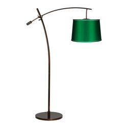 Green Envy Floor Lamp - Flip on this floor lamp to illuminate your evening reading or family bonding time with a gentle emerald glow. A satin emerald drum shade and bronze-finished base make this a stunning and elegant design accent for any living room.