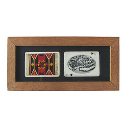 Consigned - Vintage Native American Playing Cards, Framed - Vintage playing cards with photographic image of a Native American Pow-Wow and a Navajo tribal blanket. Mounted on black artist paper, framed and glazed.