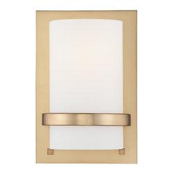 Minka Lavery - Minka Lavery 342-248 Honey Gold 1 Light Wall Sconce - Etched Opal Glass Shade