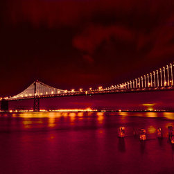 PrintedArt - Bay Bridge in Lights - Print is made with archival pigment inks for best color saturation and contrast with a 75-year guarantee against fading or discoloring. Mounted on light-weight but rigid aluminum dibond board to create a float-on-the-wall piece of art. Also available face-mounted with acrylic.