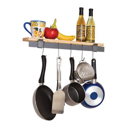 Enclume - Rack It Up Wall Bar & Bamboo Shelf  Wall Mounted Pot Rack - Dimensions: 22 x 4 x 5