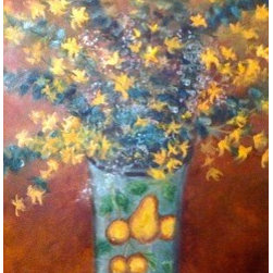 """""""Sunburst Floral"""" (Original) by Tracey Peer - Mixing the yellows of the forsythia and the greens of the eucalyptus in an antiqued vase I experimented with a dynamic orange background and felt spontaneity and subtleness within. Presently on exhibit."""