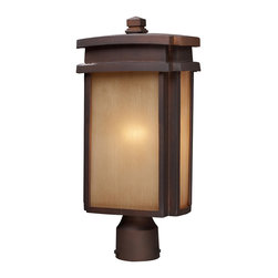 Elk Lighting - Elk Lighting 42145/1 1 Light  Outdoor Post Light N Clay Bronze - 1 Light  Outdoor Post Light N Clay Bronze belongs to Sedona Collection by Elk Lighting Simplicity Of Craft And Form Gives The Sedona Collection A Very Attractive Look Through Its Minimalist Approach.  Inspired By The Architecture And Casual Lifestyle Of The Desert Southwest, This Collection Features Clean Lines With Recessed Edges, Caramel Beige Glass, And A Clay Bronze Finish.  Post Light (1)