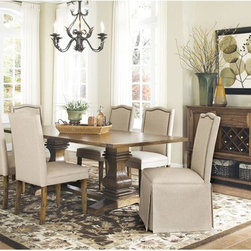 None - Hampton Adair Coffee-finish Traditionally Inspired 7-piece Set - Create a lasting impression in your dining room with this distinctive trestle table set. Made of select woods,the bold shaped table pedestal base features subtle curves that embody a classic,traditional feel.