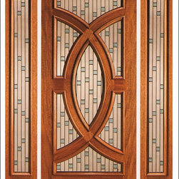 AAW Inc. - Contemporary Entry Door Model PL-02 - Model PL-02 from our Budget Doors. Door is solid Mahogany, Featuring a triple glazed beveled design.  This door can be purchased as one door, two doors, or doors with matching sidelites.