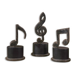 Uttermost - Music Notes, Set of 3 - Hand forged metal finished in aged black with a tan glaze and matte black accents. Sizes: Sm-5x11x3, Med-5x12x3, Lg-5x12x3