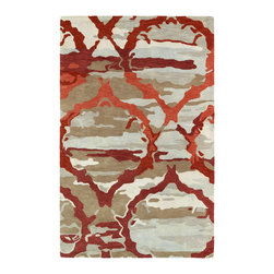 "Kaleen - Kaleen Brushstrokes Collection BRS02-25 5' x 7'9"" Red - The artistic inspirations of the Brushstrokes collection finally brings you a true piece of art for your floor! Beautiful hand-painted designs accentuated from a smooth and steady motion, this assortment features a unique spotlight of fantastic color combinations. Each rug is perfectly executed and detailed in this 100% wool, hand-tufted rug made in India."