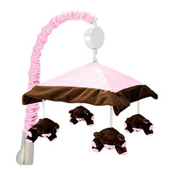 Trend Lab - Tred Lab Maya Crib Bedding Set - Mobile (Pink and Brown) - Encourage eye tracking and sound perception skills with this Classic Pink and Brown Musical Mobile by Trend Lab. Mobile canopy features a pink velour center and is framed by chocolate brown velour. Four plush pink and brown bears are suspended from decorative white ribbon and slowly rotate to Brahms Lullaby. Mobile easily attaches to most cribs. Mobile measures 18 tall by 20 wide.
