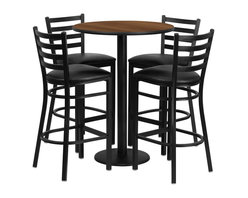 Flash Furniture - Flash Furniture Restaurant Furniture Table and Chairs X-GG-4201BRSR - 30'' Round Walnut Laminate Table Set with 4 Ladder Back Metal Bar Stools - Black Vinyl Seat [RSRB1024-GG]
