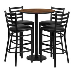 Flash Furniture - Flash Furniture Restaurant Furniture Table and Chairs X-GG-4201BRSR - 30'' Round Walnut Laminate Table Set with 4 Ladder Back Metal Bar Stools - Black Vinyl Seat [RSRB1024-GG]