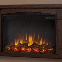 Real Flame - 34.5 in. Wall Hung Electric Fireplace - Includes mantel, firebox with remote control, wall mounting bracket, anchoring hardware. Transitional styling. Plugs into any standard outlet. 1400 watt heater. Rated over 4700 BTUs per hour. Programmable thermostat with display in fahrenheit or celsius. Ultra bright LED technology with five brightness settings. Digital readout display with up to nine hours timed shut off. Dynamic ember effect. Plugs into any standard wall outlet. UL and ISTA 3A certified. Warranty: Ninety days on mantel and one year on electric firebox. Made from solid wood, veneered MDF and powder coated steel. Chestnut oak finish. Assembly required. 34.5 in. W x 7.1 in. D x 22.4 in. H (47.9 lbs.)The Brighton wall fireplace is the next generation of electric fireplace.