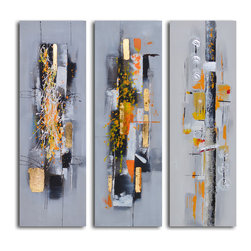 Amber chaos finding form Hand Painted 3 Piece Canvas Set - Everyone interprets modern art in different ways. These stunning hand-painted abstracts will provide years of introspection and conversation. Don't be surprised if you see something new each time you look.