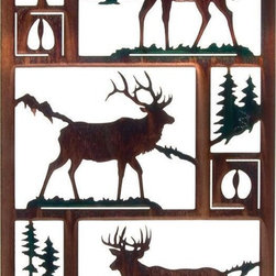 "Lazart - Northwoods Wildlife Trio  Rustic Metal Wall Art - Northwoods Wildlife Trio  Rustic Metal Wall Art. Beautifully self framed, this moose wildlife metal wall art is one of a collection of designs depicting wildlife in their natural habitat. Here we see a moose, an elk and a whitetail deer - each depicted in their natural habitat and accompanied by the tree type where they live and their hoof print. The color wash finish has been carefully hand painted for a natural affect while the copious white space best defines the beauty of the wildlife. A honey pinion toned frame exudes glorious golden tones when struck by light, adding even more to the overall design. Measures 19-3/4""W."