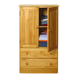 "Honey Pine Armoire - This unpretentious armoire, with its beautiful wood grain, brings warmth and simplicity into your bedroom or walk-in closet. Organize your favorite items in the shelved cabinet area and spacious drawers. At 32"" wide, the Home Basics Armoire makes it easy to store just about anything. Buy two and use one for linens and your favorite dishes. With its pine knobs, raised panels, and Honey Pine finish, the Home Basics Bedroom Armoire is the next piece of furniture you'll come to love. Don't forget to check out our matching Home Basics Collection or our solid pine bunk beds for a coordinated look.  Requires assembly."