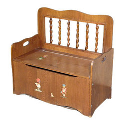 Consigned Vintage Oak Children Storage Trunk Chest Seat - Oak