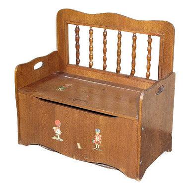 Antiques - Consigned Vintage Oak Children Storage Trunk Chest Seat - Oak