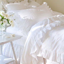 "Taylor Linens - Elisa Egg-Shell White King Duvet - If you fail to understand the concept of ""no frills,"" this duvet cover is for you! Made of cool, soft cotton percale, it's embellished with pintucks and lavish lace galore."
