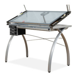 "Studio Designs - Futura Station Glass Drafting Table - The efficient artist will appreciate the Studio Designs Glass Top Futura Craft Table. Constructed of durable heavy gauge steel, this sleek, contemporary-style craft/drafting table features a tempered blue safety glass work surface. The surface tilts at an angle of up to 35 degrees for comfort while working. Simply add a light source beneath the glass work surface, and you've got yourself a tracing table as well. This table is also compatible with parallel bars (not included) up to 36 inches in length. This table also includes three plastic molded slide-out drawers ideal for storage, as well as a pencil drawer and slide-up pencil ledge that keeps tools from rolling away. Four floor levelers let you create a stable, even work surface, even on uneven flooring. Features: -Main work surface 38"" x 24"". -Tempered blue safety glass. -Can be used a light table. -Top angle adjustment up to 35 degrees. -3 Plastic molded slide out drawers for storage. -Four removable side trays for supplies. -9.5"" X 28"" Pencil storage drawer and 24""slide up pencil ledge. -Assembly required. -Dimensions: 31.5"" H x 43"" W x 24"" D."