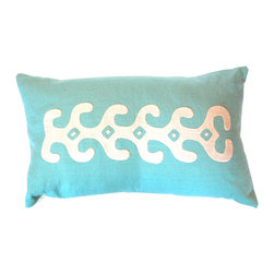 Hot Moon Collection - Kuna Appliqué Pillow - A gorgeous lumbar pillow with reverse appliqué handmade by women of Panama's San Blas Islands is the perfect accessory for your sofa. This pillow's singular design would look especially fetching on a cloth sofa in a contemporary living room.