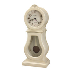 HOWARD MILLER - Howard Miller Audrey Triple Chime Pendulum Mantel Clock - This traditional wooden mantel clock features a shell carving on the top crown, seeded glass on the lower door, and a grooved back panel for a planked appearance.