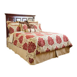 Loom and Mill - Loom and Mill B0001-K Regency Comforter Set, Queen - This 9-piece, jacquard woven bedding set, combines elegance with comfort, featuring an opulent damask design and superior quality.