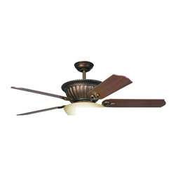 "Kichler Lighting - Kichler Lighting - 300012 - Larissa - 52"" Ceiling Fan - With a Tannery Bronze(R) finish with Gold Accents and Citrine Glass, this fan is a wonderful addition to the Kichler Larissa(TM) Collection. The 5, 52"" blades are pitched 14 degrees and are reversible for your choice of a Cherry or Walnut finish. The 172mm x 17mm Motor will provide the quiet power you need. With full range dimming and Intelligent Return, the integrated downlight uses 3 60-watt B-10 bulbs. This fan comes complete with the Full Function Cool Touch(TM) Control System with independent up and down light control and 6"" and 12"" (3/4"" I. D. ) downrods."
