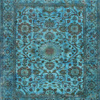 Overdyed Tiffany Blue Rug - This hand-curated assortment of rugs from the COLOR REFORM collection. Rugsville Overdyed Tiffany Blue Rug 12220 is created by taking rugs, shaving down their pile to minimize their intrinsic pattern, and then overdying with strong, blue color.
