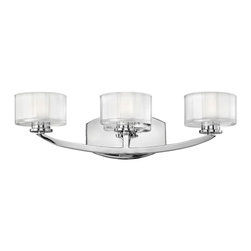 "Hinkley Lighting - Hinkley Lighting 5593CM Meridian Transitional Bathroom / Vanity Light - Meridian features minimal transitional styling with clean lines  soft curves and low-profile faceted 1/2"" thick glass. This stem hung simplistic design will add a crisp focal point to any dA©cor."