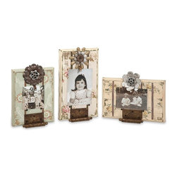 IMAX Worldwide - IMAX Worldwide Davis Door Hinge Photo Frames in Antique, Beige, Metal (Set of 3) - From the Ella Elaine designer collection, this set of three frames each feature vintage wallpaper designs and repurposed elements for a reclaimed look.