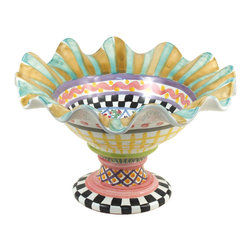 Taylor Fluted Rim Compote - Odd Fellows | MacKenzie-Childs - Footed, fluted, and fabulous, the Odd Fellows Compote holds peaches, plums, sweet buns, or anything else that deserves a place of honor in the Sunday brunch spread. Handmade and hand-painted on our Aurora estate, and stamped by each artisan involved in its creation, this charming piece features a medley of patterns patched together for a delightfully mix-matched version of signature MacKenzie-Childs designs to make your table the center of attention.
