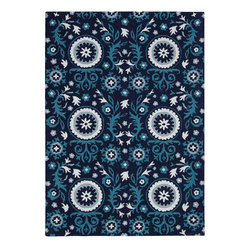 Nourison - Nourison Suzani Suz07 Navy Area Rug - Give any room a touch of nature with a Nourison Suzani rug. This rug is a contemporary take on the traditional floral patterns. The patterns range from whimsical to distinctive plants and flowers. For example, you can pair this rug with a large planter to create an intriguing wilderness. You can even add the rug to a room with a Queen Anne chair to add a visual appeal into a space. Each of the Suzani area rugs are made with 100 percent hand tufted wool.