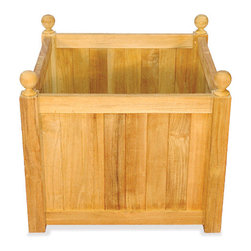 Thos. Baker - Teak Mission Planter From The Bainbridge Collection - These fine teak accent pieces from the bainbridge collection boast a rich, natural look while solving storage and seating needs outdoors and in. Ideal for poolside accents, outdoor living accessories or turning your master bath into a relaxing home spa. Made from premium teak timber, fairly harvested from plantation grown trees over 40 years old.
