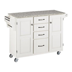 HomeStyles - 48 in. Kitchen Cart in White Finish - Enjoy unmatched mobility with this white finish kitchen cart! It features a easy to clean salt and pepper granite top that provides a stylish look. It also has an enclosed cabinet, utility drawer and side rack for adequate storage. * Salt and pepper granite top. Solid wood construction. Four easy open utility drawers. Two cabinet doors open to storage with adjustable shelf inside. Handy spice rack with a towel bar. Paper towel holder on other side. Heavy duty locking rubber casters for easy mobility and safety. Clear coat finish helps to protect against wear from normal use. Made from Asian hardwood. 48 in. L x 17.75 in. W x 35.5 in. H. Top Assembly Instruction