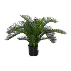 Frontgate - Outdoor Baby Cycas Palm - Handcrafted from plastic for the most realistic look possible. Arrives in a black plastic pot. Maintenance-free. Protected with a fade-resistant UV coating. Easy to shape to your liking, with instructions included with each plant. Our handmade Baby Cycas Outdoor Palm is the perfect replica of the miniature tropical plant installed in some of today's most fashionable landscapes. This maintenance-free cycas is so lifelike that no one will ever suspect that it is artificial. Intended for the outdoors – but you can display it inside as well – this baby cycas is water-resistant and crafted to mimic nature's original design.. . . . . Move indoors during extreme weather conditions.