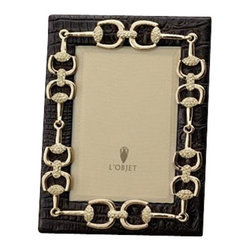 L'Objet - L'Objet Gold Equestrian Links w/Crystals on Crocodile Leather 8x10 - L'Objet is best known for using ancient design techniques to create timeless, yetdecidedly modern serveware, dishes, home decor and gifts. 14k Gold Plated Photo Frame Swarovski Crystals in Yellow Leather Wrapped Faux Crocodile All Around Beveled Glass Stands Horizontally or Vertically Choose 4x6, 5x7, 8x10 Size Memories are cherished like jewels ��_ carefullytucked away or delicately shared ��_ so it is only fitting that a photograph sitwithin a frame inspired by fine jewelry. Each frame is meticulously handcraftedand detailed with beveled glass, satin liner, leather back, and decorative closures.