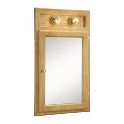 "DHI-Corp - Richland Nutmeg Oak Lighted Bathroom Mirror, 18"" by 30"" - The Design House 551036 Richland Nutmeg Oak Lighted Bathroom Mirror features a nutmeg oak finish with a water resistant seal. This product has a rustic shabby chic design, meshing modern construction with vintage aesthetics. With a solid wood frame and 1-door design, this medicine cabinet measures 18-inches by 6-inches by 30-inches and is built to withstand years of repeated use. With a country living motif, this medicine cabinet graces your home with its bright finish and clean lines. This product is perfect for remodeling your bathroom and matches painted cabinets and granite counter tops. The cabinet doors glide open revealing shelves sturdy enough to hold shampoo, medicine and makeup. This mirror will not chip or stain in steamy bathrooms. Use this mirror for shaving or applying makeup in the morning. This product is CARB compliant, which means it adheres to the toughest production standards in the world for formaldehyde emissions (in wood composite paneling). The medicine cabinet also provides two overhead lights. The Design House 551036 Richland Nutmeg Oak Lighted Bathroom Mirror has a 1-year limited warranty that protects against defects in materials and workmanship. Design House offers products in multiple home decor categories including lighting, ceiling fans, hardware and plumbing products. With years of hands-on experience, Design House understands every aspect of the home decor industry, and devotes itself to providing quality products across the home decor spectrum. Providing value to their customers, Design House uses industry leading merchandising solutions and innovative programs. Design House is committed to providing high quality products for your home improvement projects."