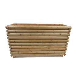 """Master Garden Products - Log Cabin Pedestal Planter Wall, 48""""L x 16""""W x 28""""H - This log cabin pedestal planter wall makes for an excellent country style floral divider or screen  for your yard or commercial uses such as restaurants and outdoor cafes. They are designed to raise the display planter to eye level while serving as a screen or divider between seating areas."""