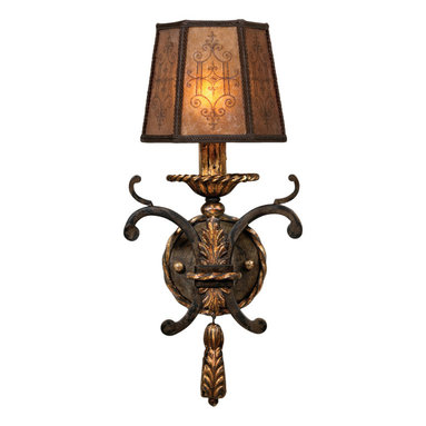Fine Art Lamps - Epicurean Sconce, 406850ST - Bring the essence of ages-old charm to your favorite space with this unique wall sconce. Twisted rope and acanthus leaf details in a charred iron finish accent the tailored shade of decorated mica and burnished gold candelabra.