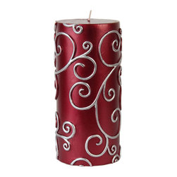 "Jeco - 3 x 6"" Red Scroll Pillar Candle - Metallic Pillars are perfect for your weddings and events. The long lasting burn will make your event unforgettable. Made with 100% lead free cotton wicks and meticulously handpainted. PLEASE NOTE: Actual color may differ from the color shown in the image(s) due to monitor displays.; Features: Color: Red; 100% Handpoured; Size: 3"" Diameter x 6"" H; Burn Time: 90 Hours"