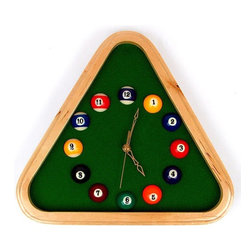 Trademark Global - Pool Rack Quartz Wall Clock w Solid Wood Fram - Uses 1 AA battery. Battery not included. Triangle that mimics a pool rack frames the clock. Simulated Green pool table felt backs the clock. Numbered pool balls represent the hours of the day. Looks great in game room, den or bar. 12.63 in. L x 1.63 in. W x 12.63 in. H (1.78 lbs.)