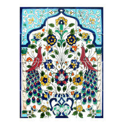 Arts Exotiques - Peacock Antique-style 12-tile Ceramic Wall Mosaic - Wall covering includes a pair of peacocks on 12 ceramic tilesWeather and frost proof wall paneling provides years of beautiful home decorMosaic tiles individually hand crafted, no two are exactly alike