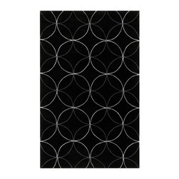 Surya - Cosmopolitan Geometric Area Rugs in Dark Forest Green - This simple rug from the Cosmopolitan Collection features inter-locking circles in white and gray on a black background. The rug is hand tufted poly-acrylic for durable construction that will not shed. This modern rug will provide a contrasting design element to any contemporary room.