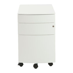 Euro Style - Floyd Ppf Filing Cabinet - White - Two smaller upper drawers for rocks, scissors and paper. You could use the rocks for paperweights when the game is over. The bottom drawer is a 22 inch file cabinet full extension slides and a supporting front coaster.