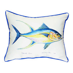 Betsy Drake - Betsy Drake Tuna Pillow- Indoor/Outdoor - Tuna Pillow- Large indoor/outdoor pillow. These versatile pillows are equal at enhancing your homes seaside decor and adding coastal charm to an outdoor setting arrangment. They feature printed outdoor, fade resistant fabric for years of wear and enjoyment. Solid back, polyfill. Proudly made in the USA.