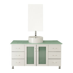 "JWH Imports - 47.25"" Grand Lune White Single Vessel Sink Modern Bathroom Vanity with Glass Top - Go for the grand dame of contemporary design with a chic vanity and sink. Two sets of drawers give you plenty of space for organization in addition to a spacious storage area underneath the sink. Choose from several different wood finishes, countertop materials and sinks for your ideal design. All that's left for you to do is pick out a modern faucet to complete the look."