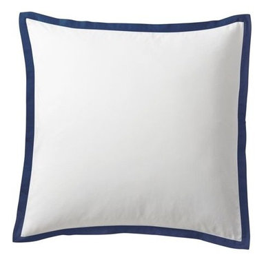 "Serena & Lily - Navy Border Frame Euro Sham - A clean, simple design for those who crave a quieter bed. Sham features crisp 300-thread-count 100% cotton sateen with 1"" band in Navy."